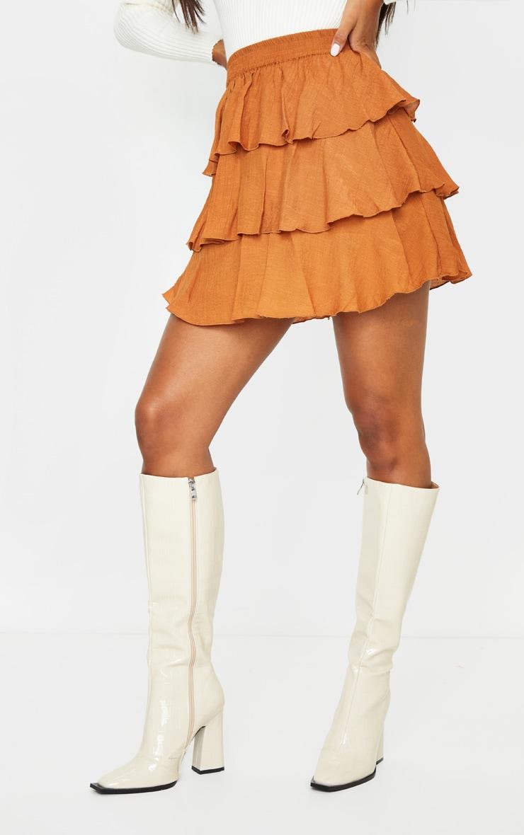 Rust Woven Tiered Ruffle Skirt 2