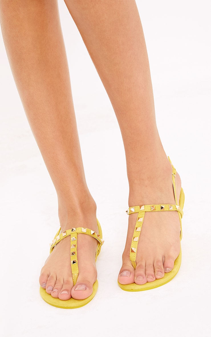 Jacques Yellow Studded Sandals  5
