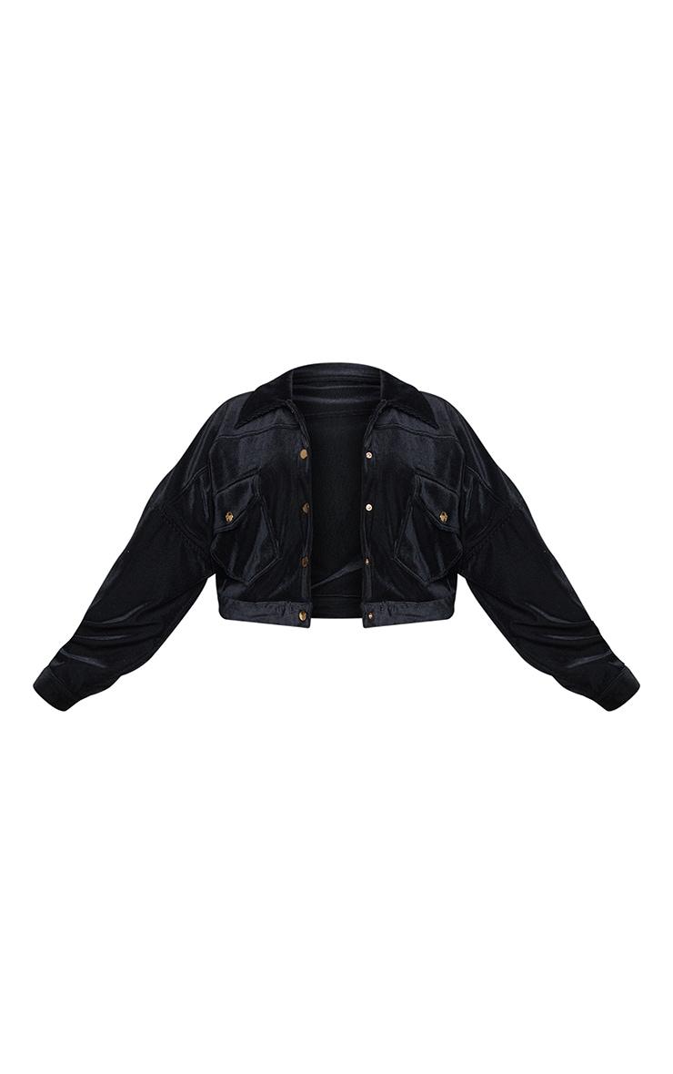 Plus Black Cropped Borg Trucker Jacket 5