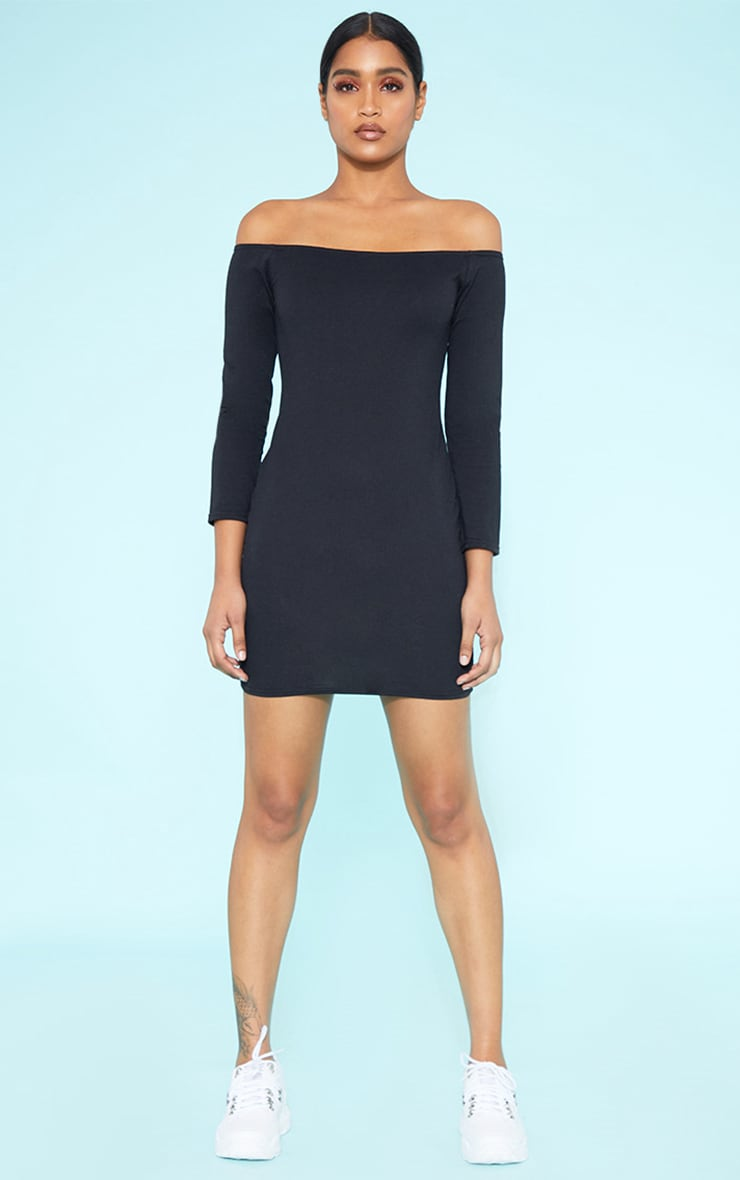 RECYCLED Bardot Bodycon Dress Black 5