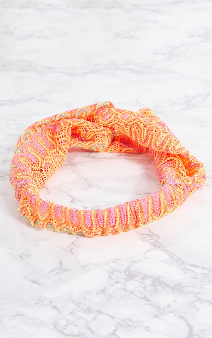 Orange Neon Crochet Headband 4