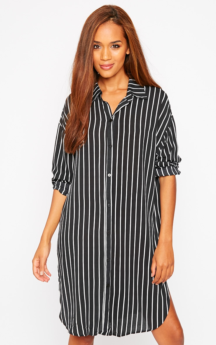 Bria Black Stripe Shirt Dress 1