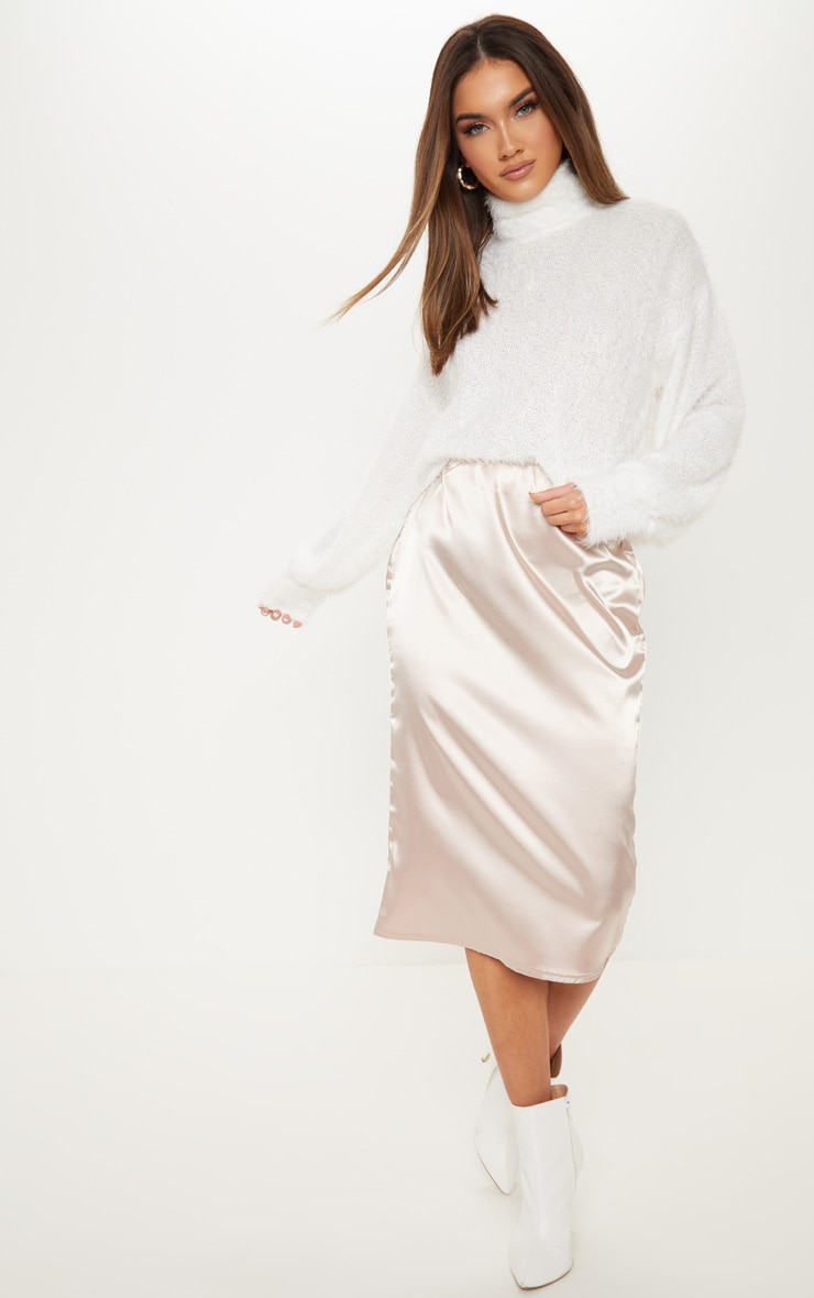 Champagne Satin Midi Skirt