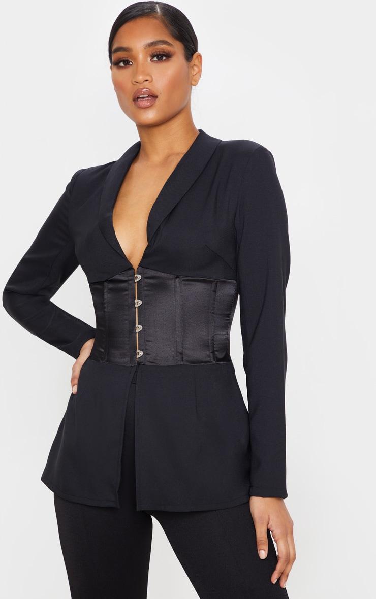 Blazer tissé noir à corset satiné contrastant 1