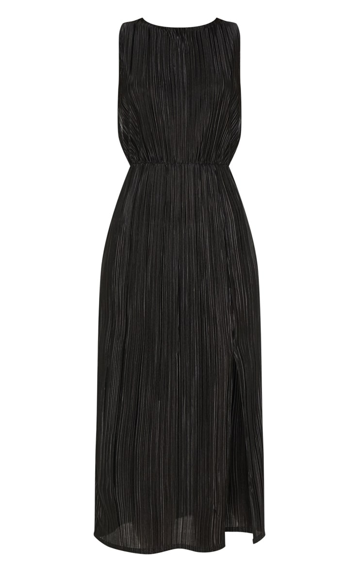 Black Plisse Slash Neck Split Detail Midi Dress 3
