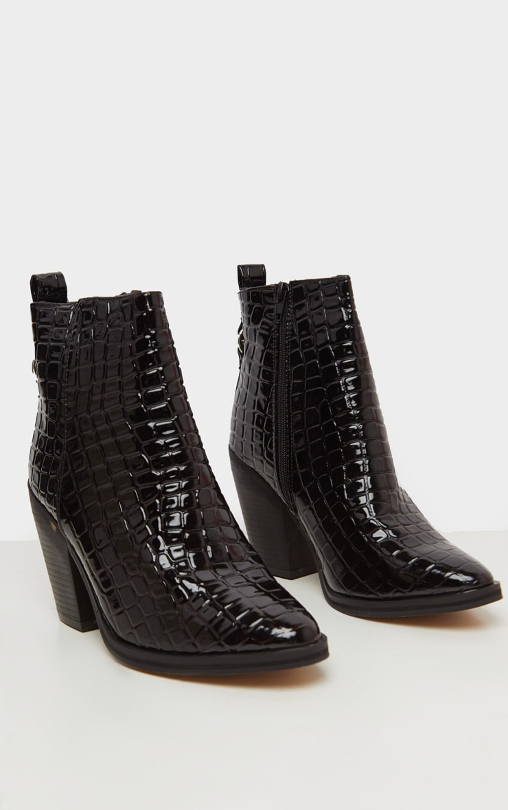 Black Patent Croc Western Ankle Boot