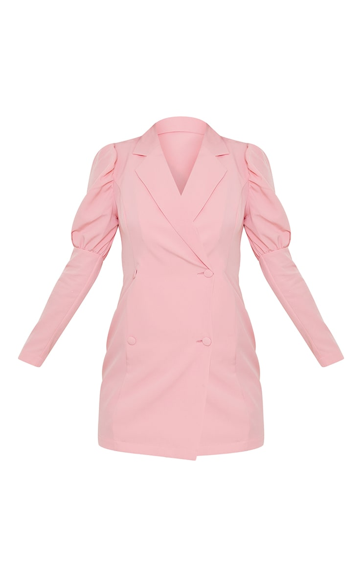Dusty Pink Bow Detail Open Back Blazer Dress image 5