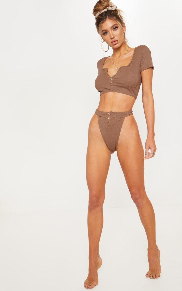 Chocolate Ribbed Button Short Sleeve Bikini Top 5