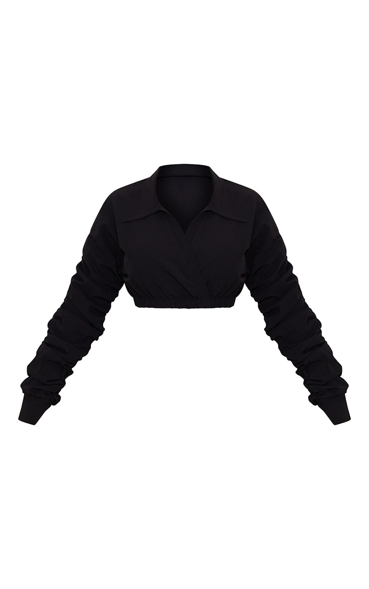 Black Extreme Ruched Long Sleeve Cropped Shirt 5