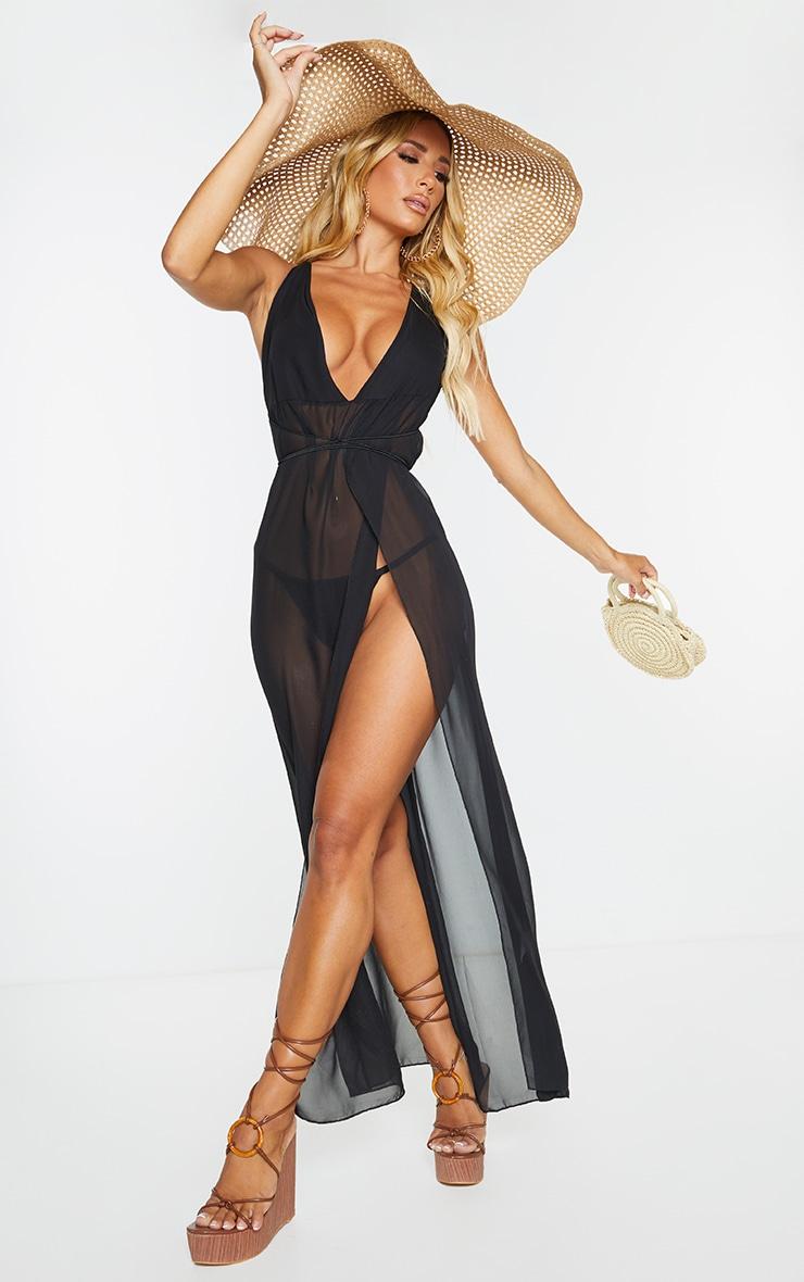 Black Chiffon Plunge Beach Dress 1