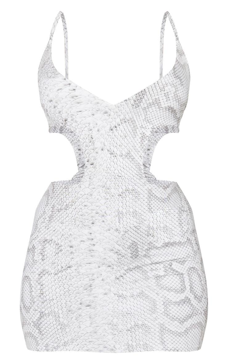 Grey Snake Print Plunge Cut Out Mini Dress 5