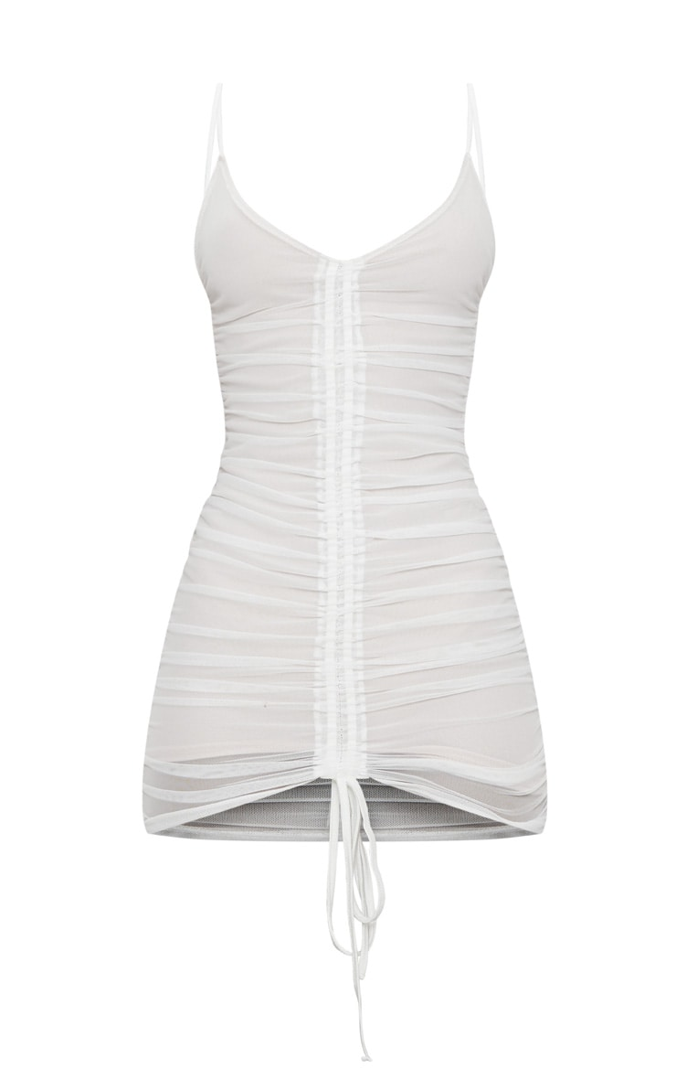 White Mesh Ruched Bodycon Dress 3