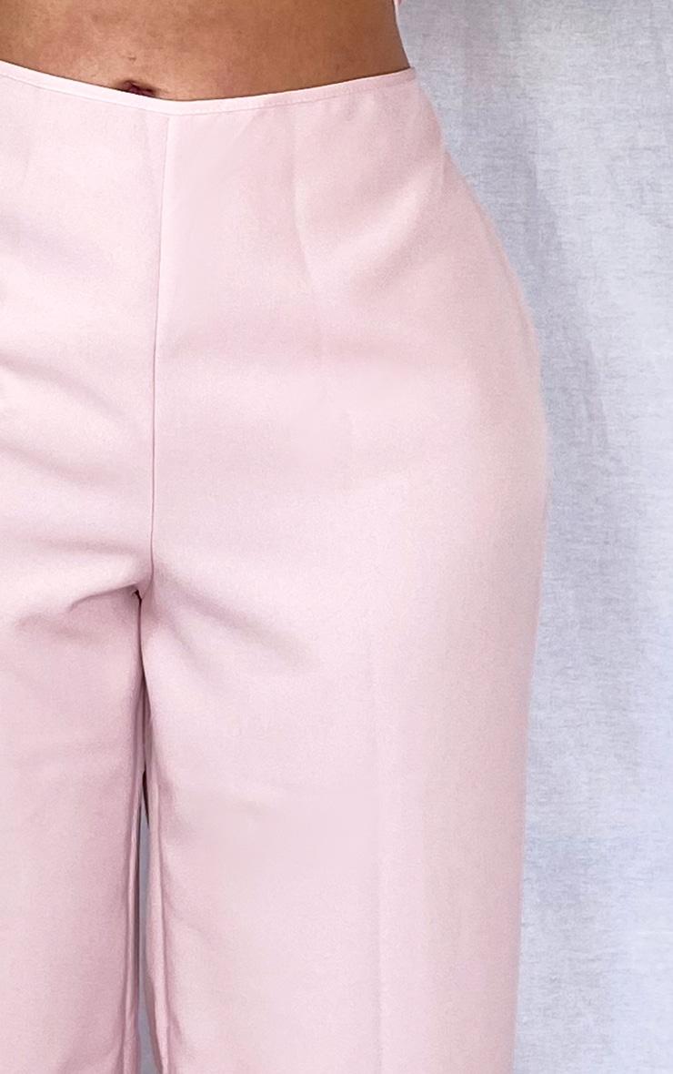PLT Plus - Pantalon en maille rose cendré à jambes évasées et ourlets fendus 4