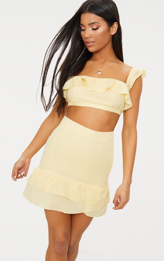 Lemon Cotton Frill Detail Strappy Crop Top 1