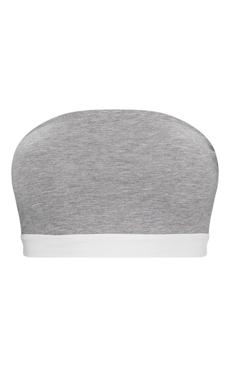 Top bandeau gris à bande blanche contrastée 3
