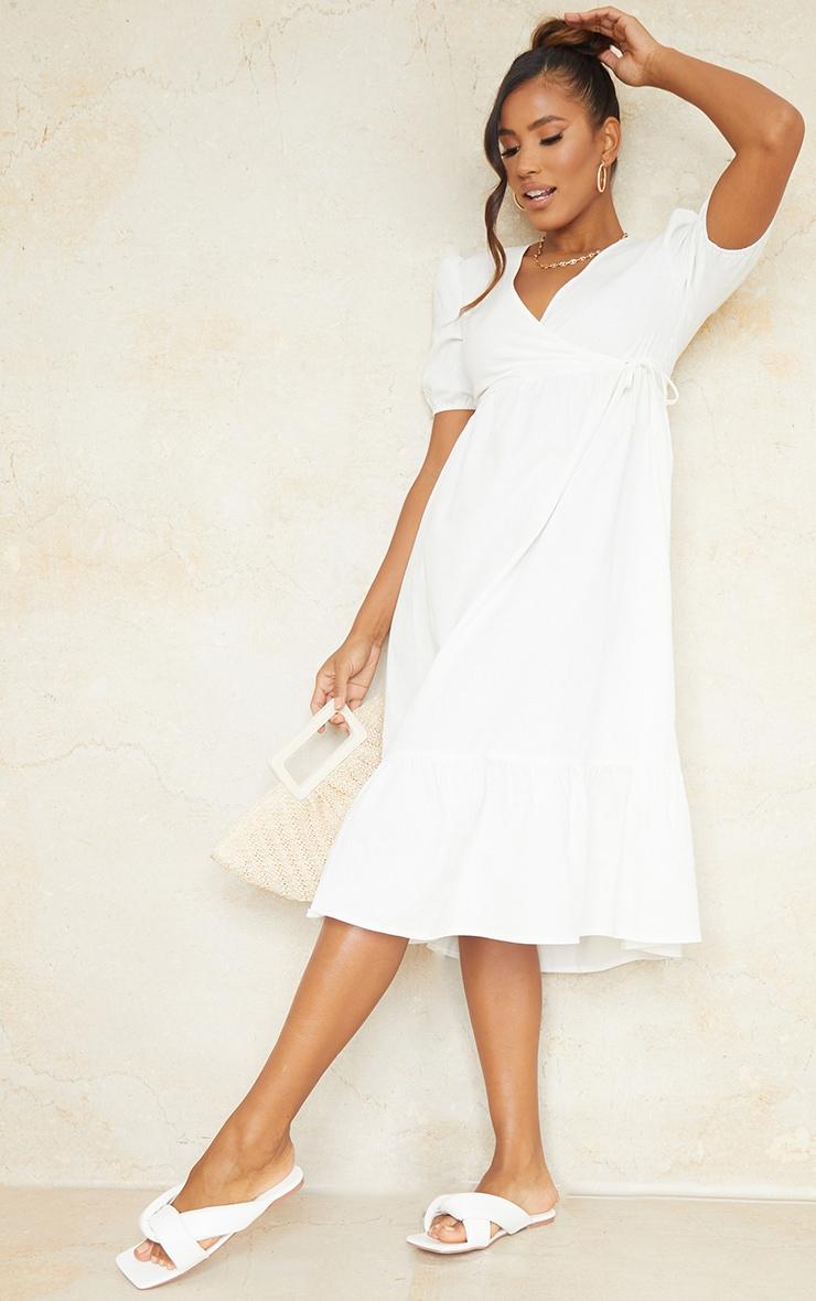 White Woven Wrap Tie Detail Puff Sleeve Smock Midi Dress 1