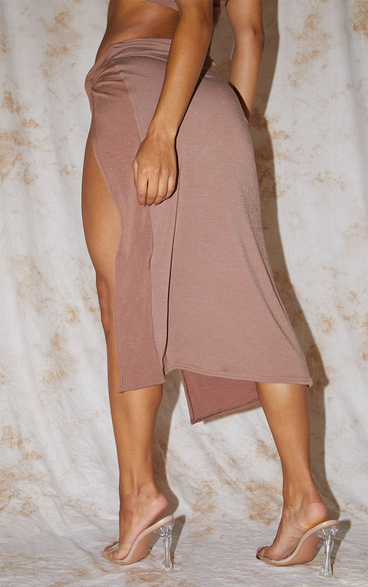 Recycled Chocolate Brown Contour Jersey Twist Front Midaxi Skirt 3
