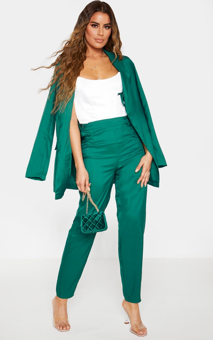 Tall Emerald Green Wide Leg Slim Cuff Suit Trousers 1