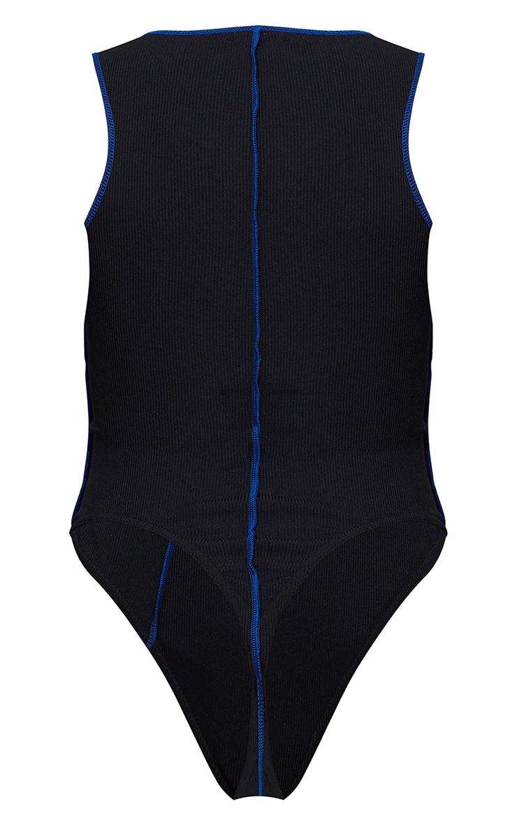 Black Rib Contrast Stitch Racer Neck Bodysuit 6