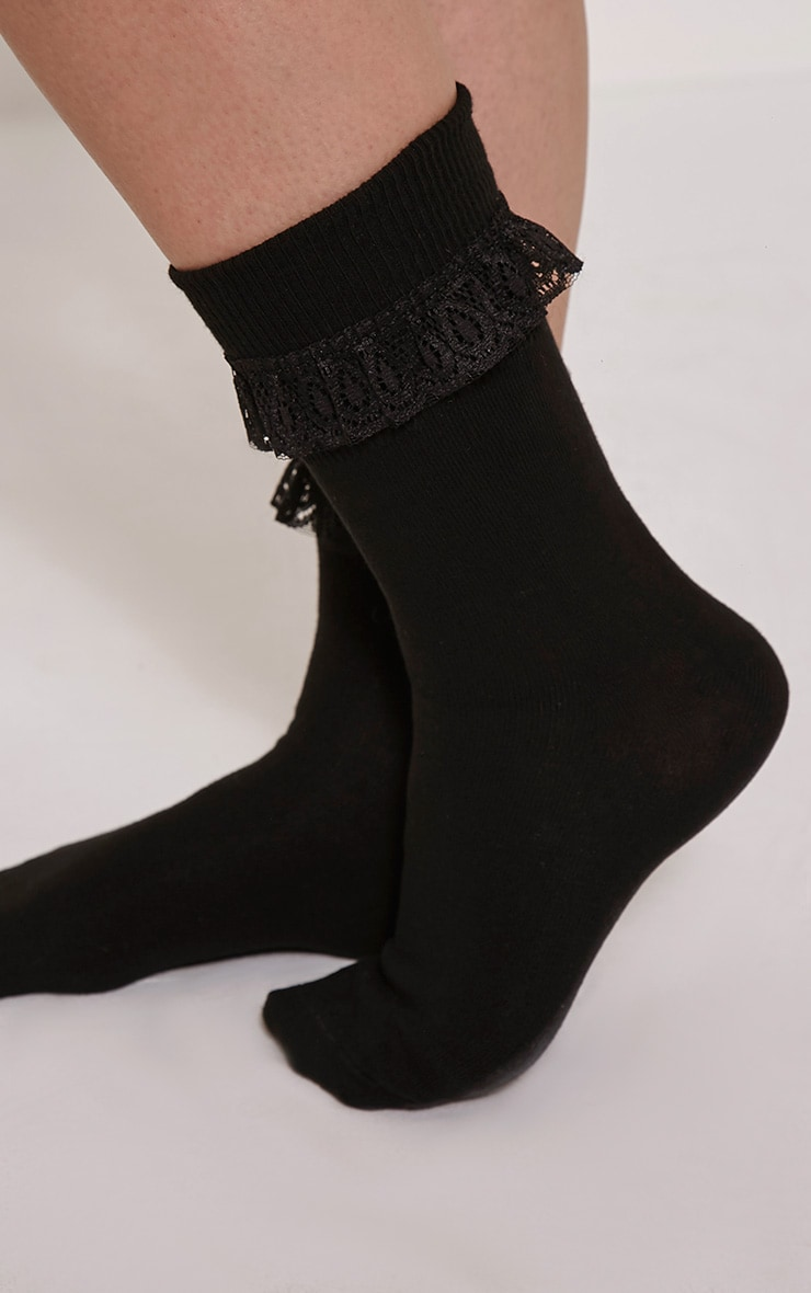Macy Black Lace Frill Ankle Socks 3