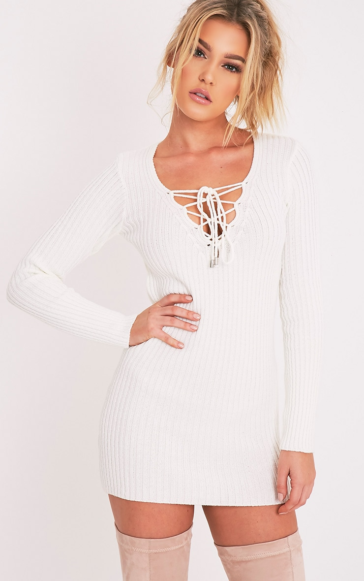 Zosia Cream Lace Up Knitted Jumper Dress 1