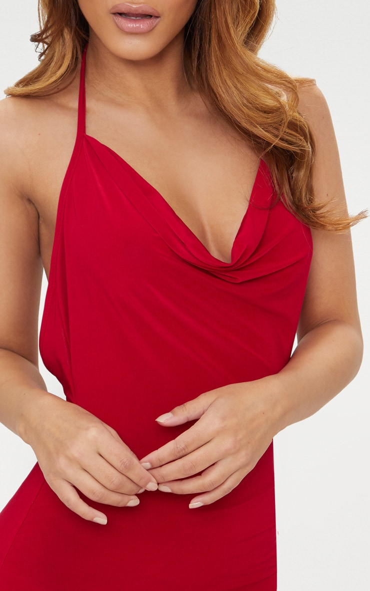 Petite Red Slinky Cowl Neck Bodycon Dress 5