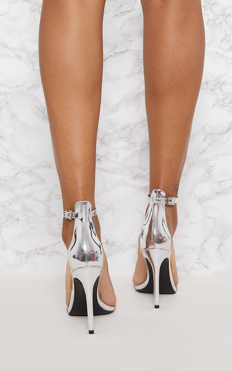 Silver Patent Clear Strap High Heels 4