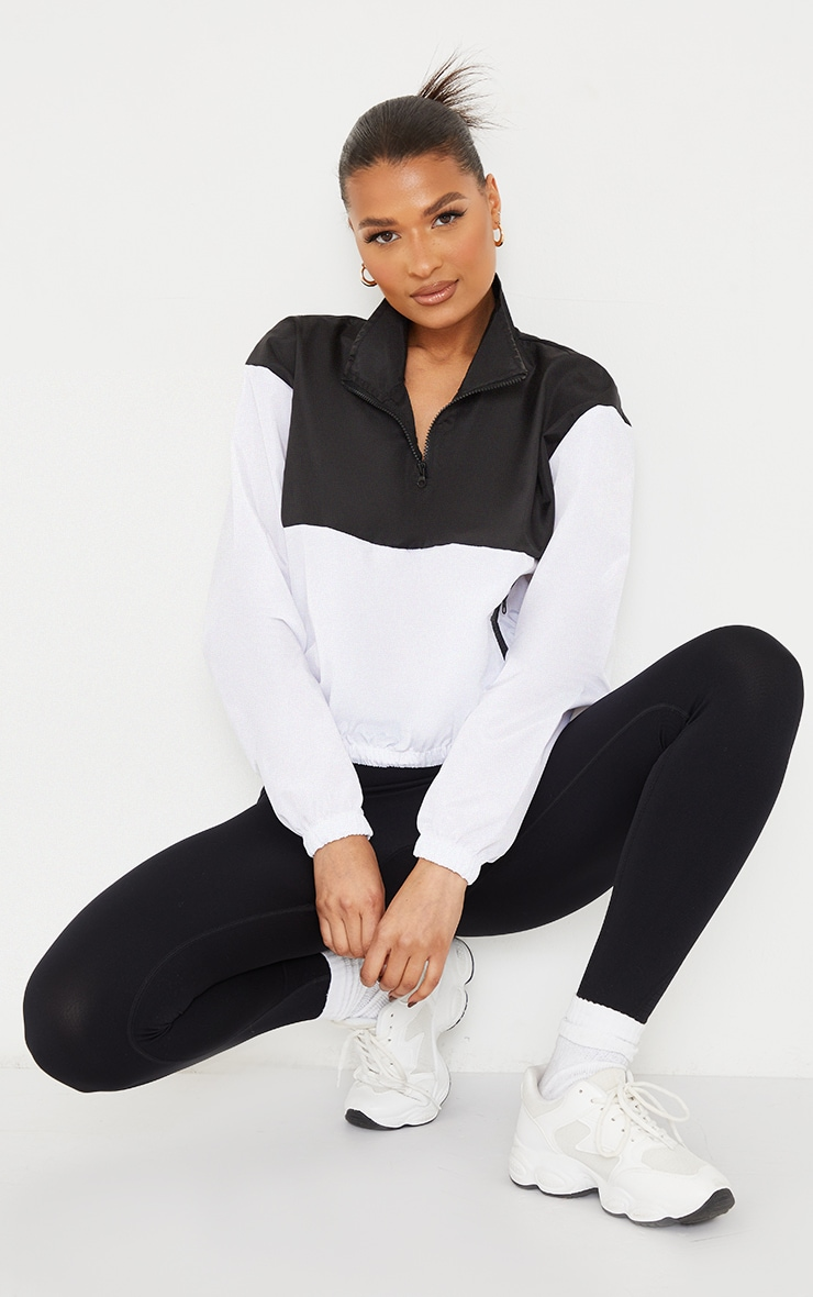 Monochrome Shell Color Panel Front Contrast Zip Cropped Pull Over Tracksuit 1