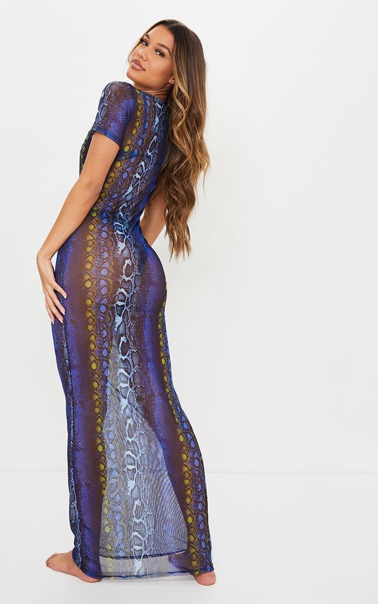 Blue Snake Scoop Neck Mesh Maxi Dress 2