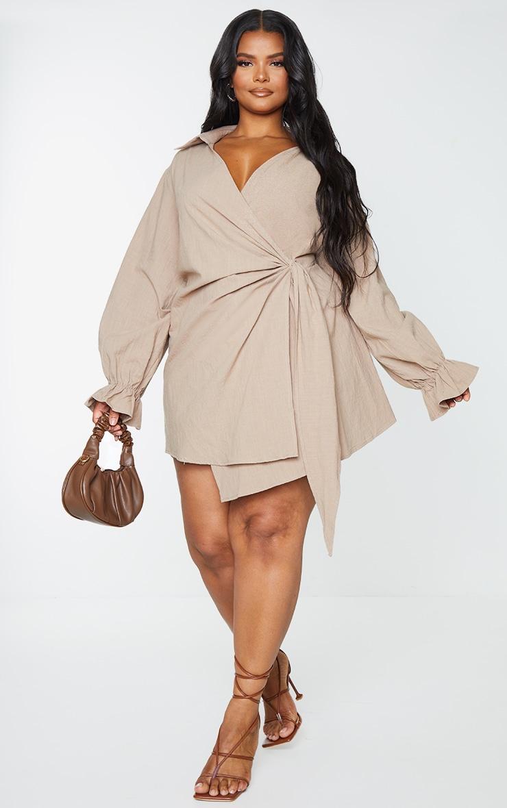 Plus Taupe Wrap Plunge Dress 1