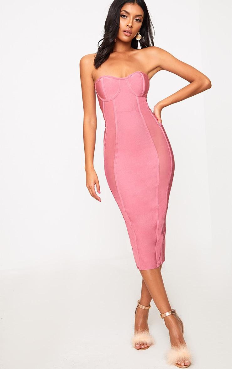Rose Bandage Mesh Insert Midi Dress  4