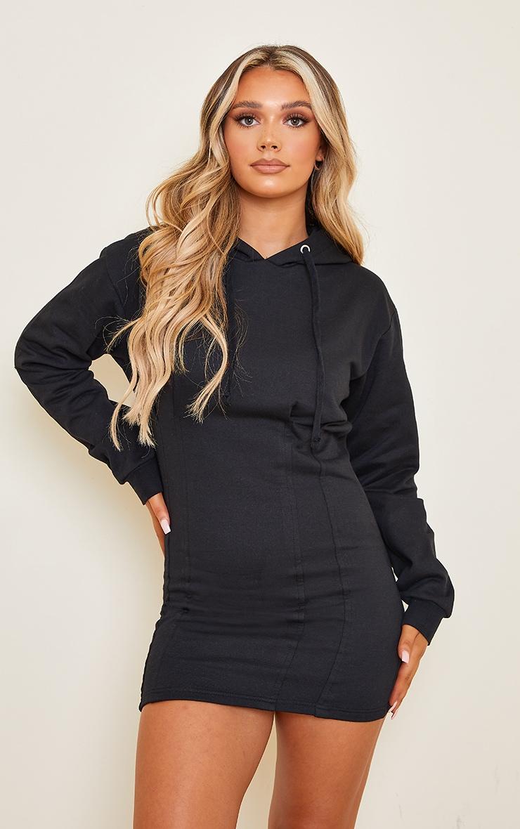 Black Pleated Hoodie Sweater Dress 1