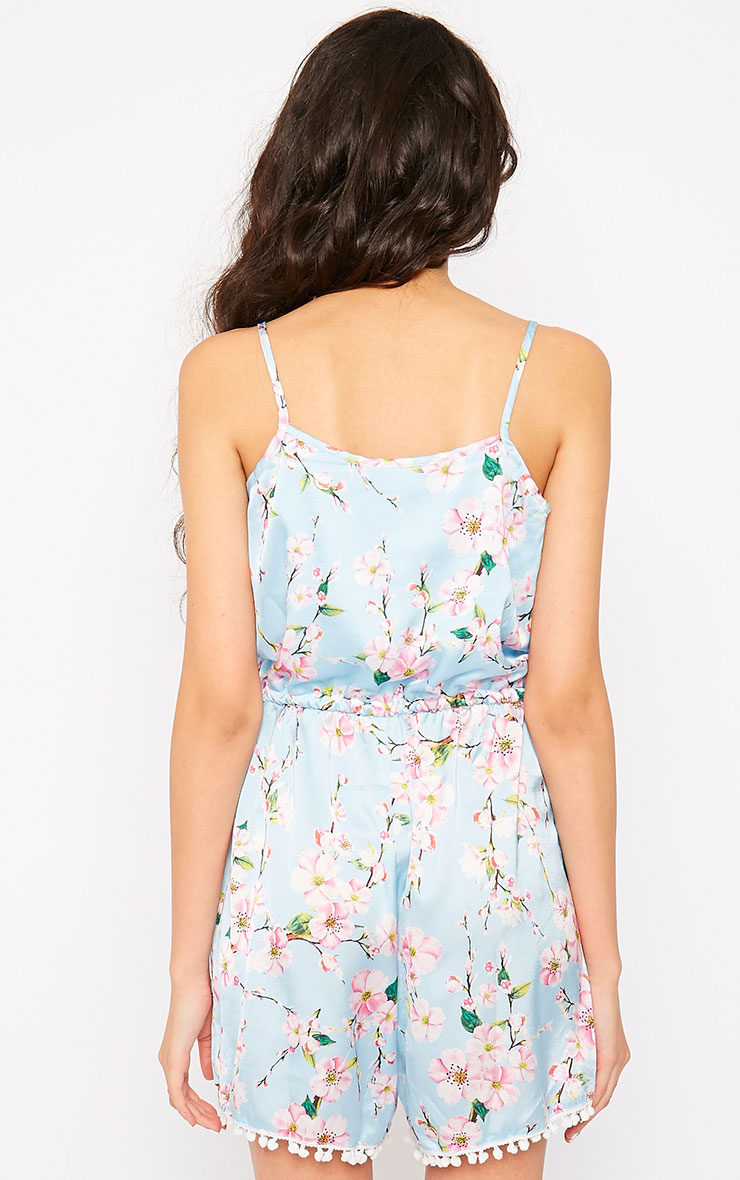 Tiffani Baby Blue Floral Playsuit 2