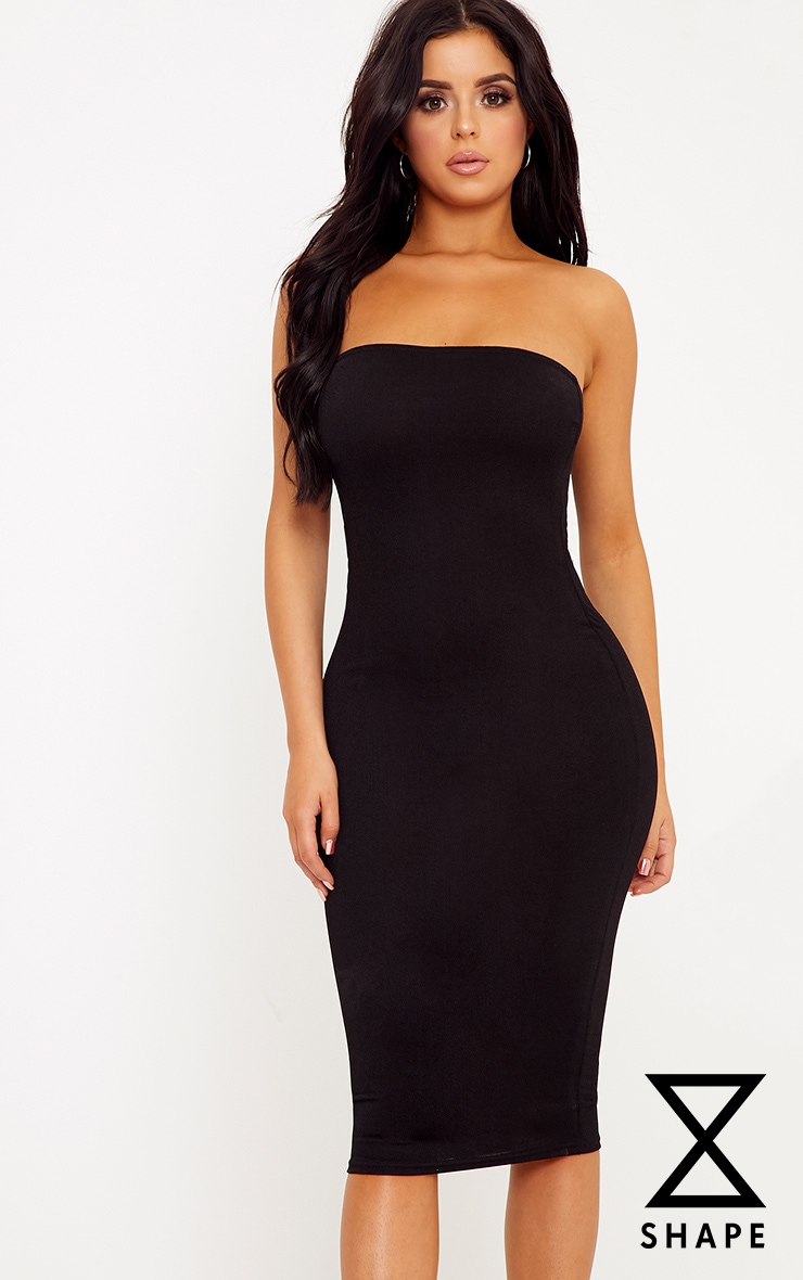 Shape Amber Black Plain Bandeau Dress 1