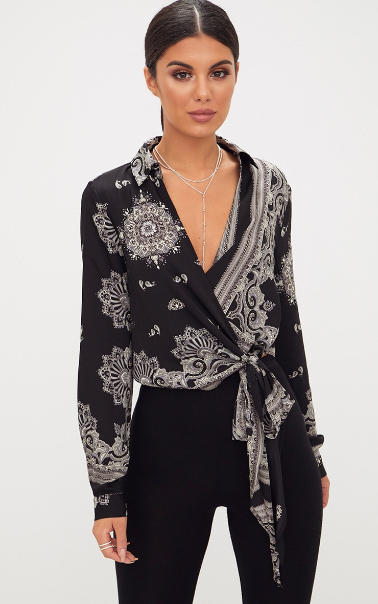 ae140dd18b7c2 Black Satin Paisley Print Wrap Front Tie Side Blouse image 1