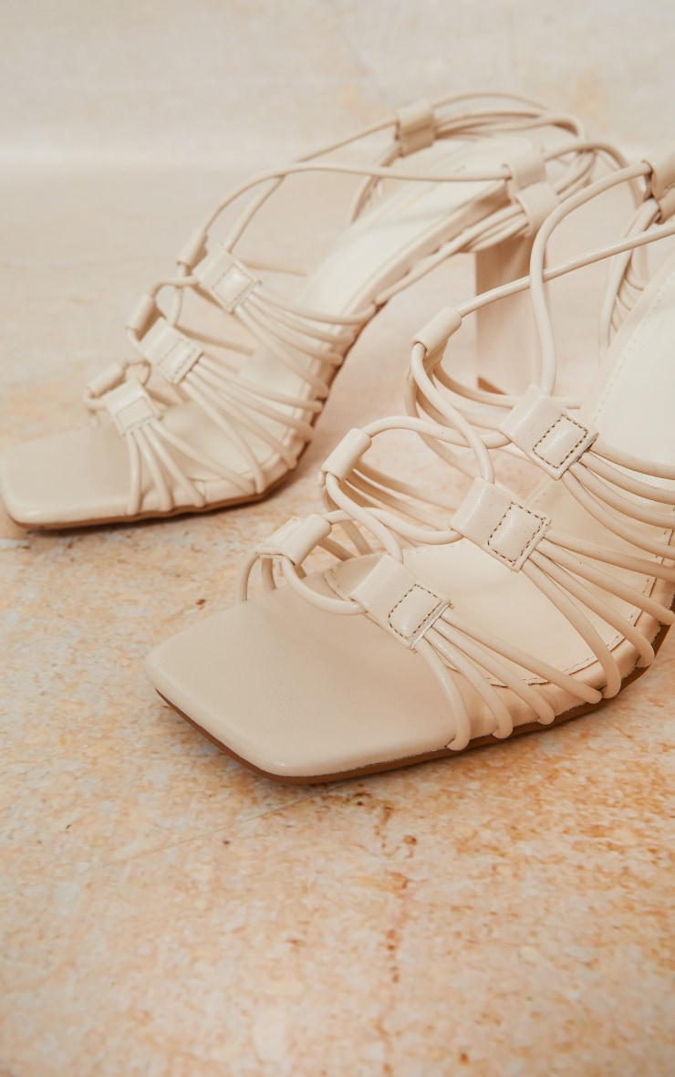 Cream Pu Multi Lace Up Flat High Heeled Sandals 3