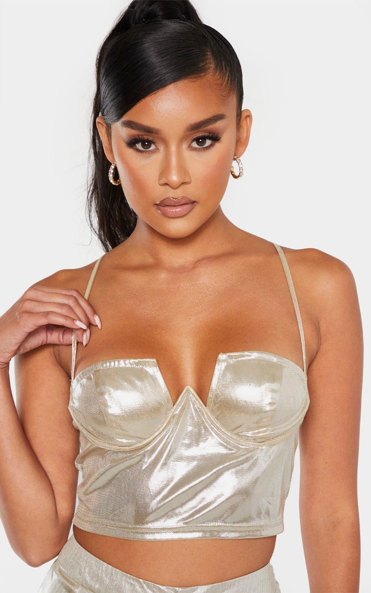 Gold Metallic Bust Underwire Bralet 5