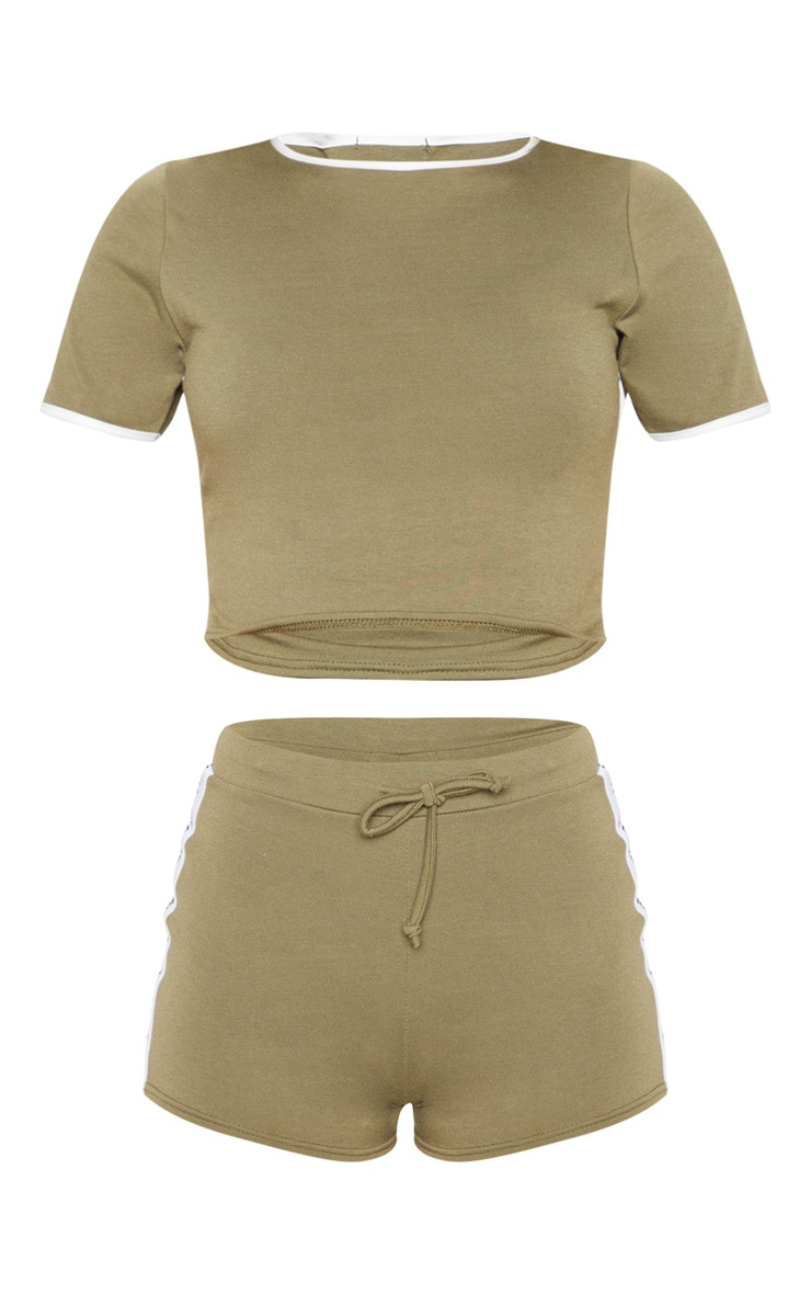 PRETTYLITTLETHING Khaki PJ Short Set 3