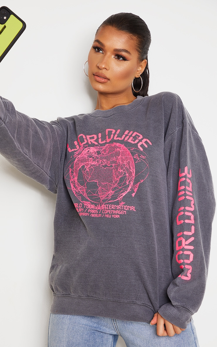 Grey Worldwide Slogan Oversized Sweatshirt 1
