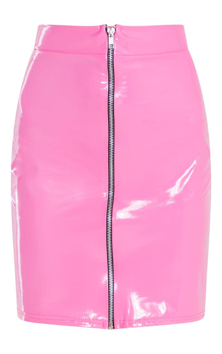 Hot Pink Vinyl Contrast Mini Skirt 3
