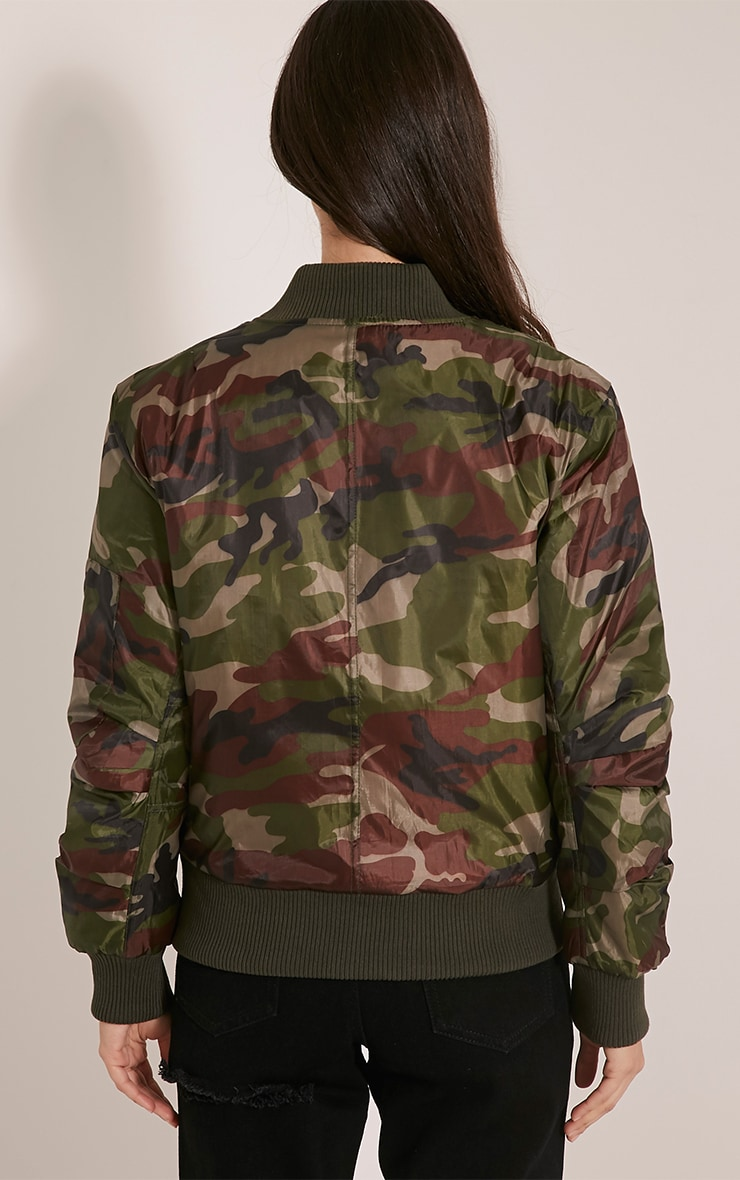 Alexus Green Camouflage Bomber Jacket 2