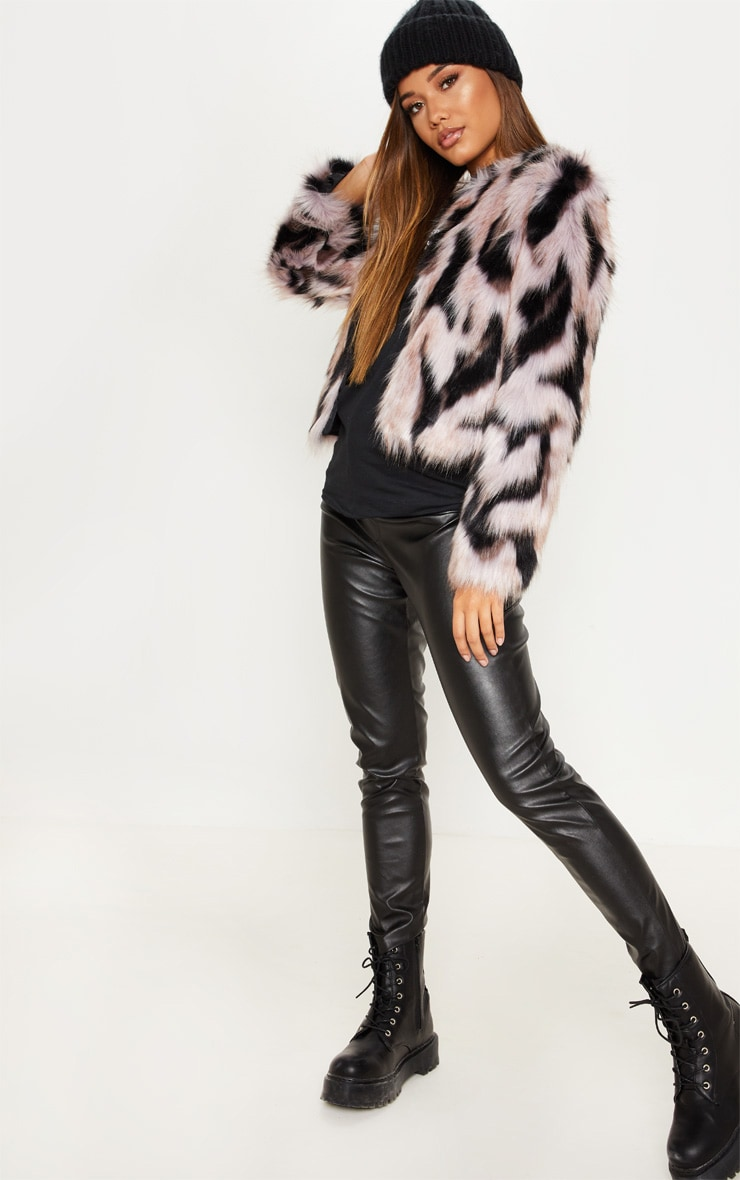 Pink Cropped Multi Faux Fur Coat 4