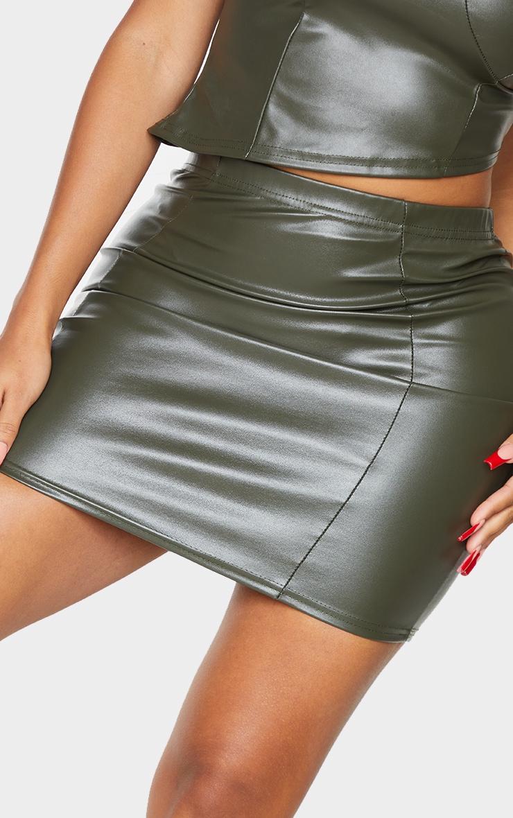 Shape Khaki PU Seam Detail Bodycon Skirt 5