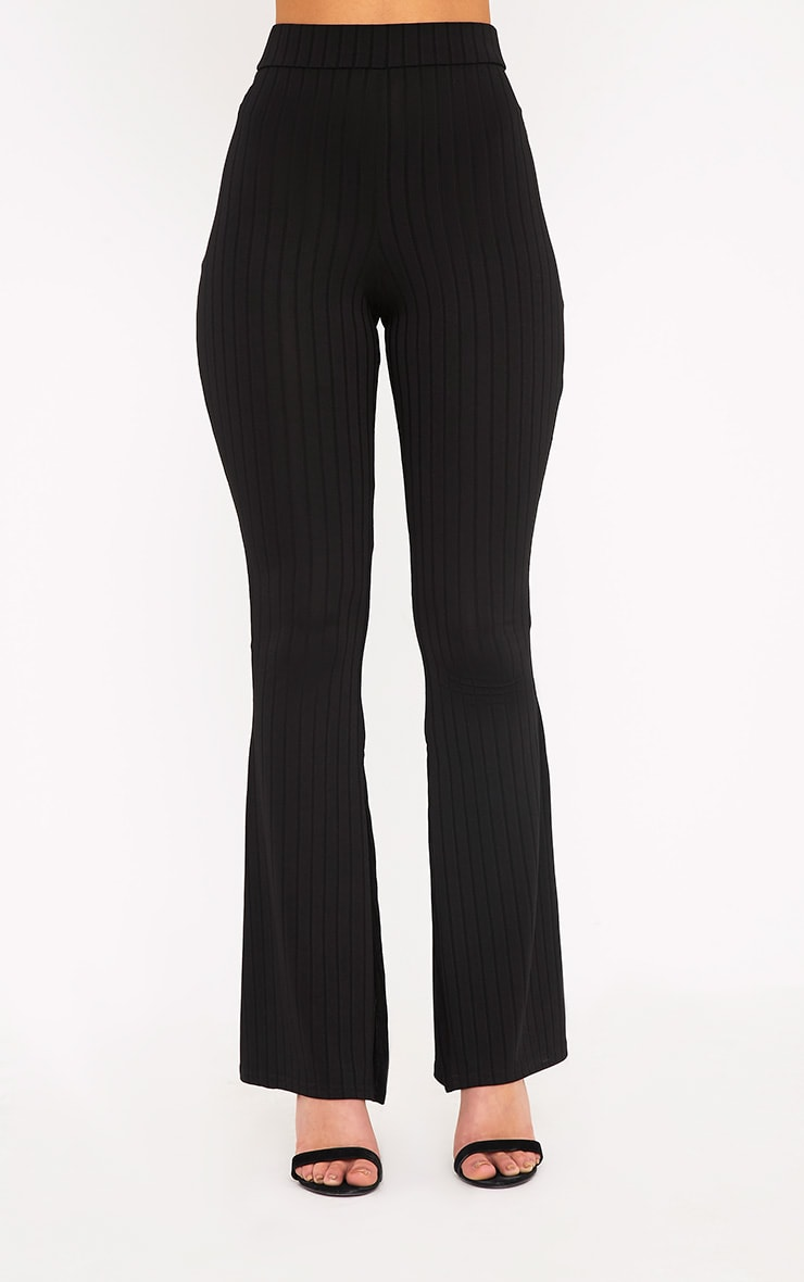 Soreya Black Ribbed Inside Split Wide Leg Trousers  2