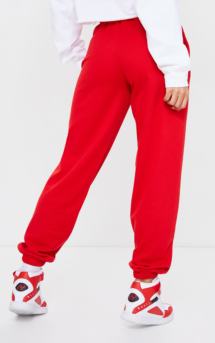 PRETTYLITTLETHING Red Established Slogan Casual Joggers 3