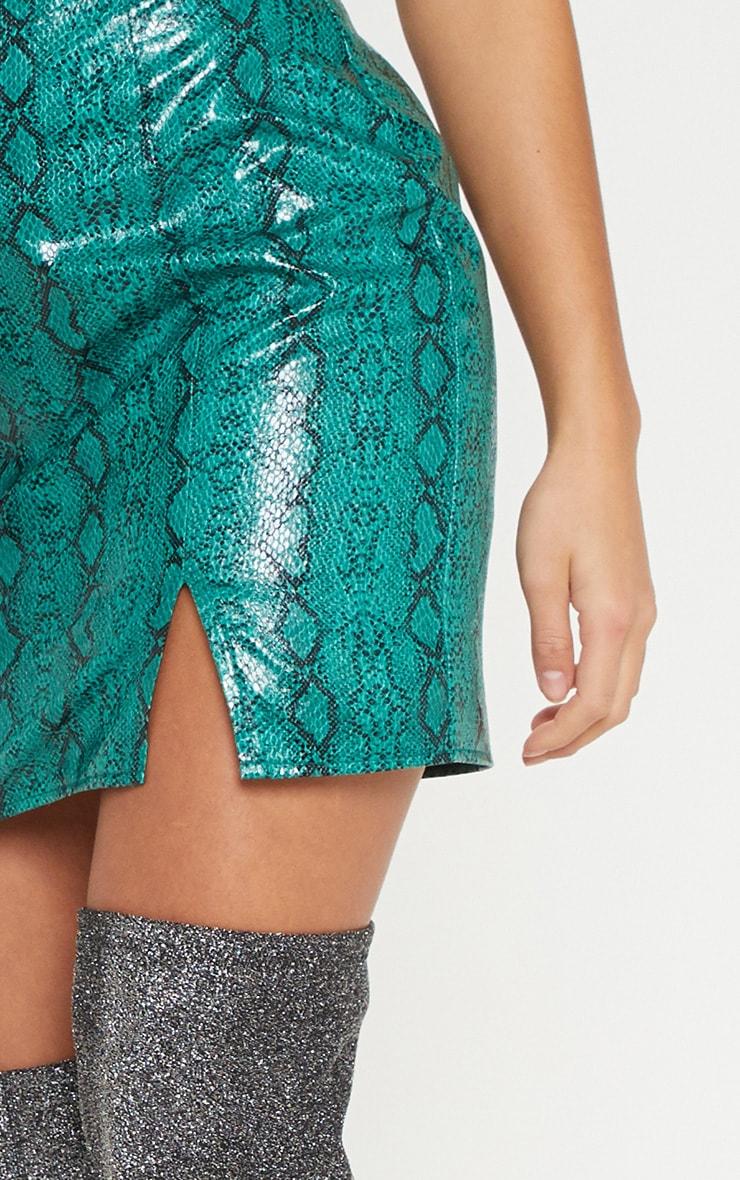 Petite Green  PU Snake Print Straight Neck Bodycon Dress 5
