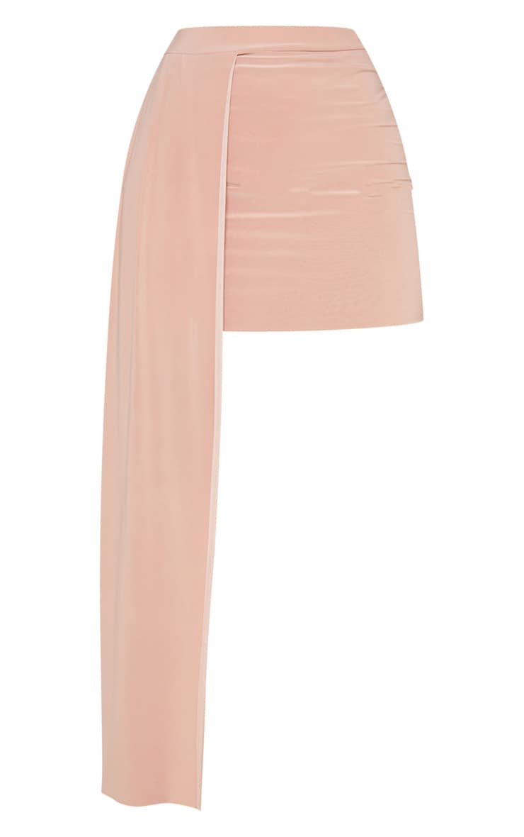 Dusty Pink Slinky Drape Detail Mini Skirt  3