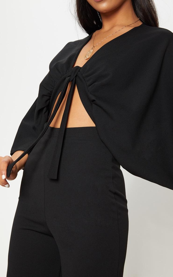 Black Crepe Batwing Cut Out Jumpsuit 5