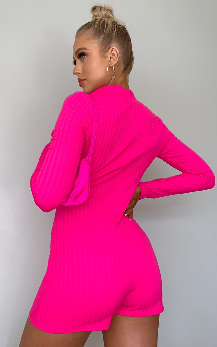 Bright Pink Zip Front Rib High Neck Unitard 2
