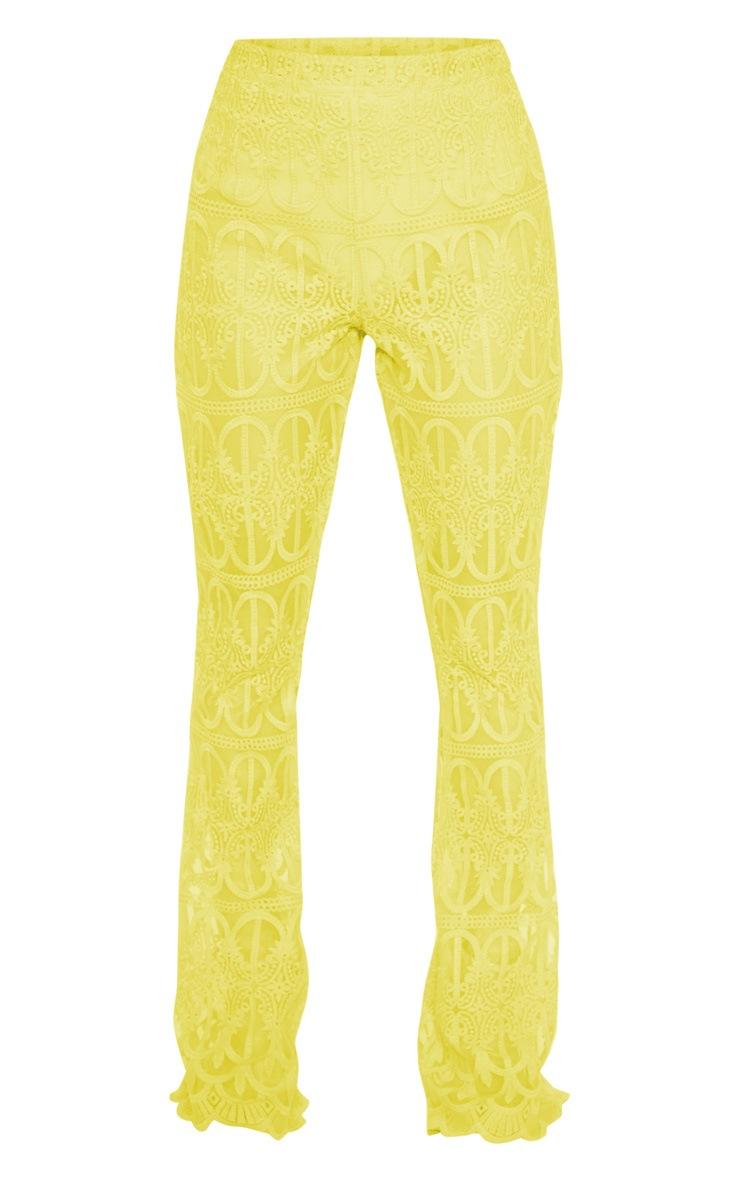 Bright Yellow Sheer Insert Wide Leg Pants 3